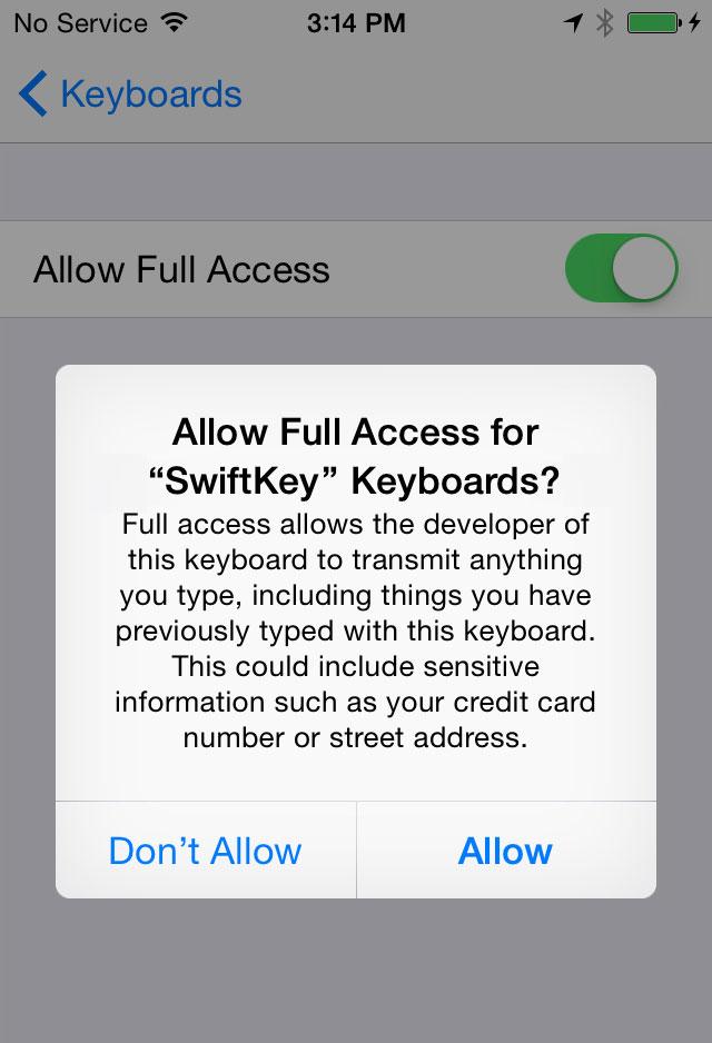 allow full acess keyboard